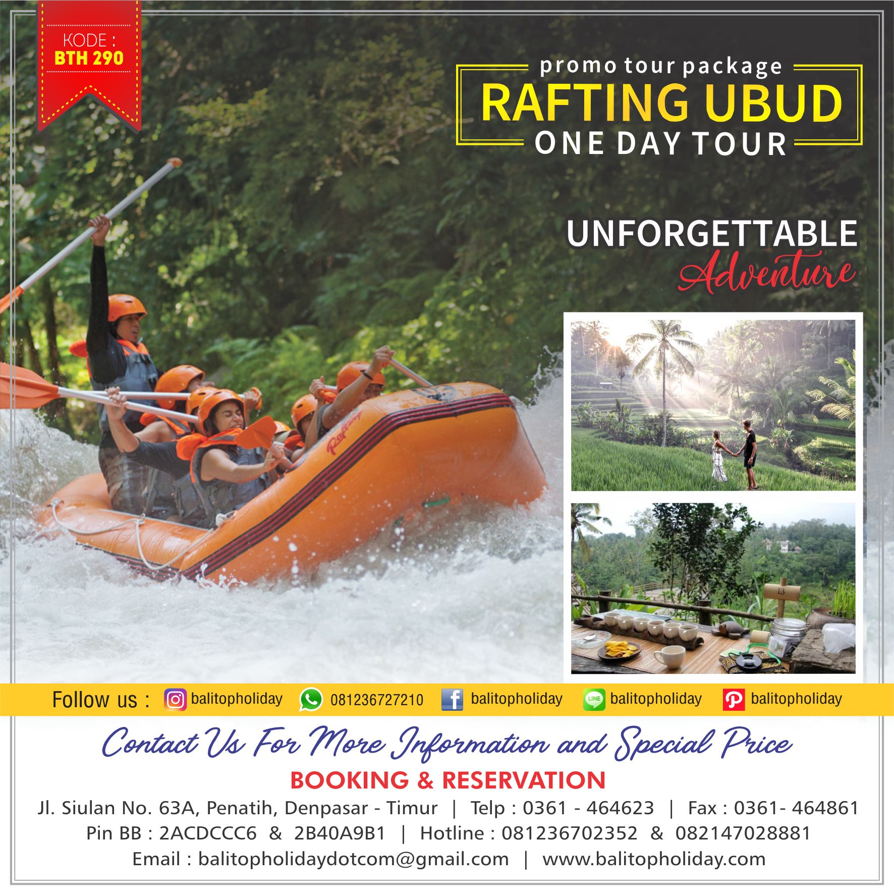 rafting ubud One Day Tour BTH 290