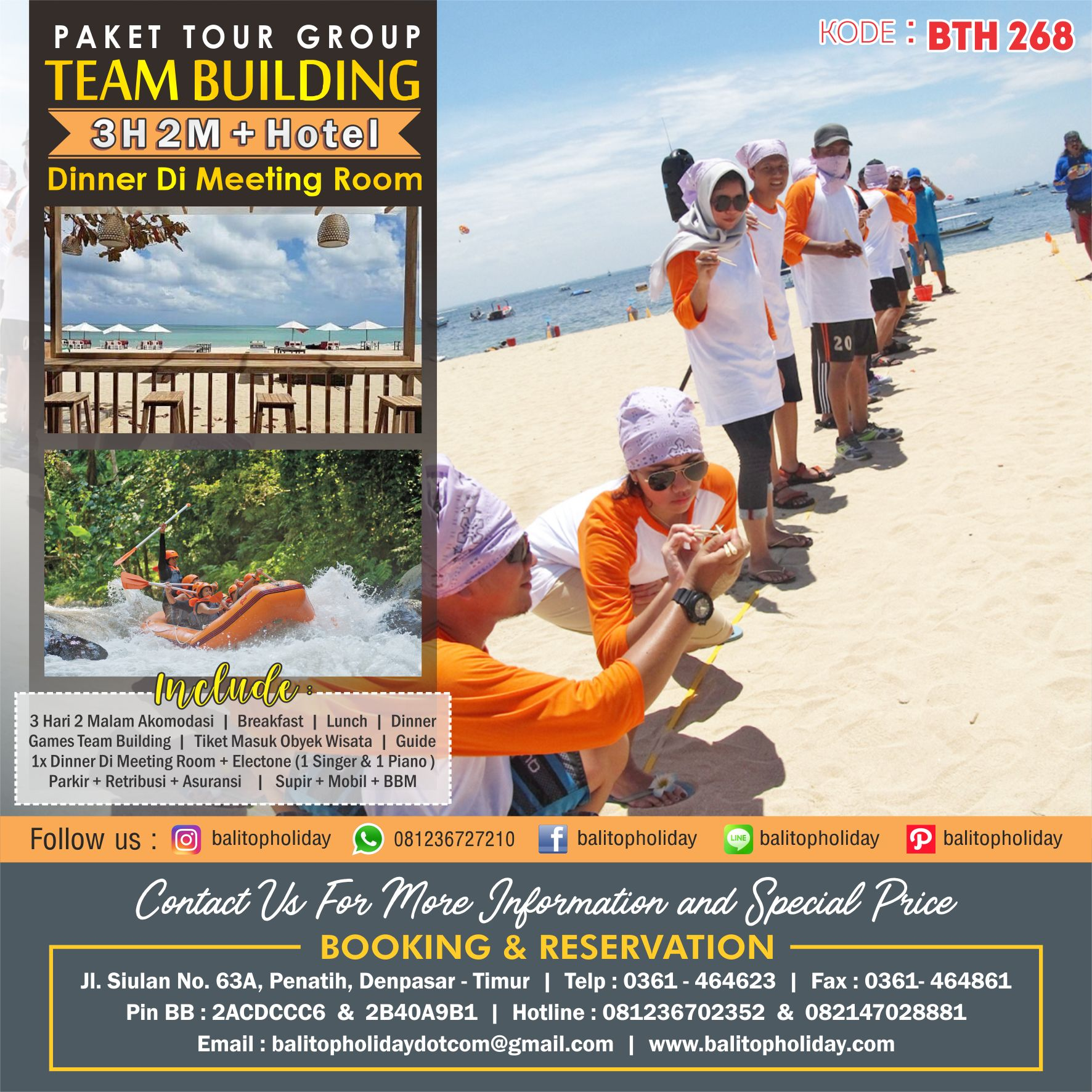 Paket Tour Group Dengan Team Building 3 Hari 2 Malam + Hotel Dengan Dinner Di Meeting Room