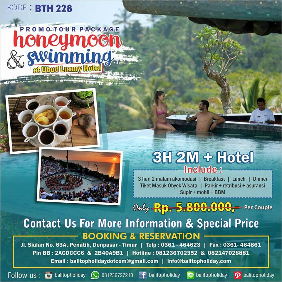 Paket Honeymoon Bali + Swimming Pool Ubud